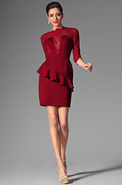 Gorgeous Red Illusion V Cut Short Dress Day Dress (03143502)
