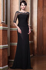 Graceful Half Sleeves Long Evening Gown Mother of the Bride Dress (C26146800)