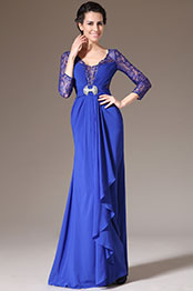 eDressit 2014 Neu Blau Spitze-Ärmel Formal Kleid/Brautmutterkleid (26140105)