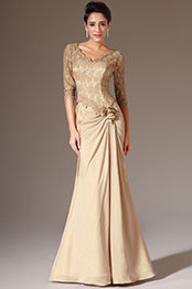eDressit 2014 New Brown V-Neck Lace Top Half Sleeves Mother of the Bride Dress (26141814)