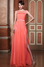 Stunning Sleeveless Illusion Neck High Slit Evening Dress Formal Gown (02144057)