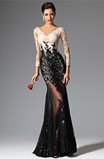 eDressit 2014 New Sexy V-cut Sequin Lace Sleeves Evening Prom Ball Gown (02149100)