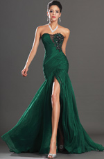 eDressit New Stunning Green High Slit Strapless Evening Dress (00134604)