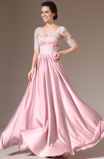 eDressit 2014 New Lace Top V-Neck Short Sleeves Satin Dress (26142101)