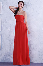 Red A-line Strapless Pleated Evening Dress Bridesmaid Dress (C36145102)