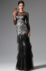 eDressit 2014 New Black Overlace Sleeves Evening Prom Ball Gown (02149000)