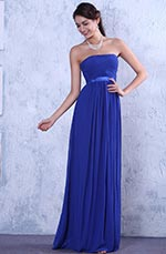Strapless A-line Pleated Evening Dress Bridesmaid Dress (C36145105)