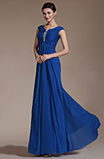 Carlyna 2014 New Blue Cap Sleeves Empire Waistline Evening Dress Prom Gown (C00141205)