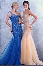 Neu Beige asymmetrisch Ausschnitt Glänzende Dekoration Abendkleid Prom Kleid(C36146014)