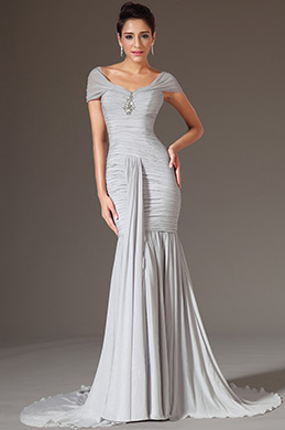 eDressit Grey Cap Sleeves Sheath Evening Gown (02142126)
