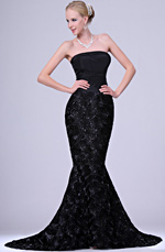 eDressit New Elegant Black Strapless Gown with Train (00109700)