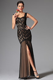 Sexy Black Lace High Slit Evening Dress Formal Dress (02146600)
