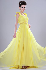 eDressit Bright Attractive Yellow Evening Dress with Flower Straps (00113103)