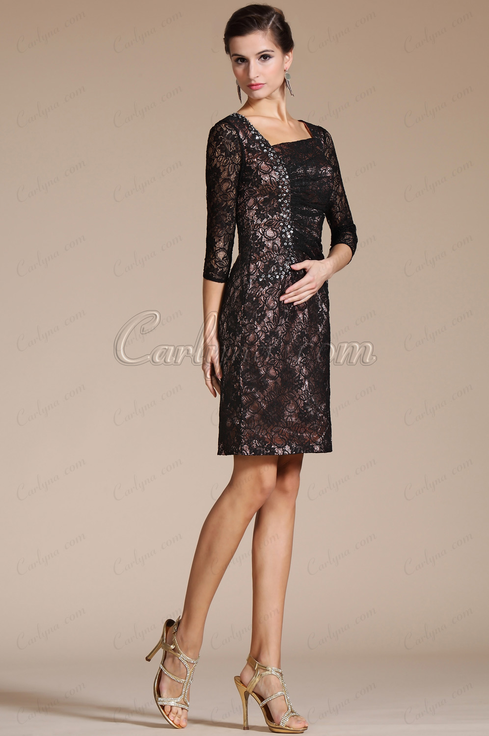 Carlyna 2014 New 3/4 Sleeves Asymmetrical Neckline Cocktail Dress/Mother of the Bride Dress (C351402