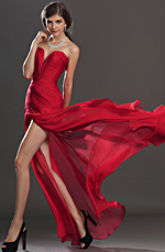 eDressit Stylish Ruched bodice Red Evening Dress (00120502)