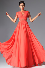eDressit 2014 New Coral Short Sleeves Evening Dress (02148257)