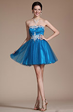 Carlyna 2014 New Blue Strapless Lace Appliques Cocktail Dress/ Party Dress (C04140405)