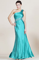 Carlyna 2014 New Turqoise One Shoulder Beaded  Bridesmaid Dress (C36140105)