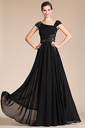 Carlyna 2014 New Black Stylish Cap Sleeves Hand-sewn Appliques Evening Gown (C00141800)