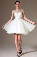 eDressit 2014 New Beaded Sheer Top Short Organza Bridal Dress (01140407)