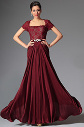 Elegant Short Lace Sleeves Burgundy Mother of the Bride Dress (26148317)