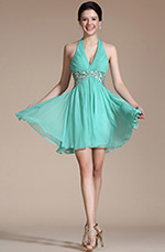 Carlyna 2014 New Turquoise Halter Gold Sequins Cocktail Dress/ Party Dress(C04141204)