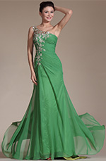 Carlyna 2014 New Green One Shoulder Lace Embroidery Evening Prom Gown (C00146418)
