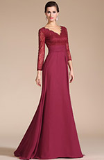Carlyna 2014 New Graceful V-Neck Long Slevees Mother of the Bride Dress (C26140402)