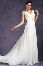 eDressit V-Ausschnitt Handgefertigter Blumen  Abendkleid Brautkleid (01130807)