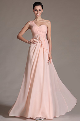 Simple Pink One Shoulder Bridesmaid Dress (C07141101)