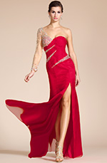 Carlyna 2014 New Red Sweetheart Beaded Sleeve High Split Formal Dress/Bridesmaid Dress (C36140802)