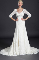 eDressit Gorgeous Lace Sleeves Wedding Gown (01121007)