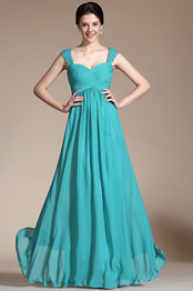 New Turquoise Straps Empire Waistline Bridesmaid Dress Evening Dress (C00145911)