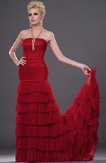 eDressit New Attractive Red Strapless Evening Gown (00112102)