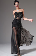 eDressit 2014 New Strapless Sweetheart Black Evening Dress (00140900)