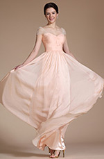 Carlyna 2014 New Cap Sleeves Ruched A-line Evening Dress/ Formal Gown (C00142101)