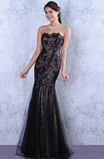 Gorgeous Black Sequined Overlace Strapless Mermaid Homecoming Dress Prom Gown (C36144500)