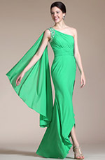Carlyna 2014 New Adorable Green One Strap Evening Dress Prom Dress (C00147004)
