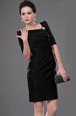 eDressit De moda Negro De Pliegue Vestido de Oficina /Vestido de Coctel (26111000)
