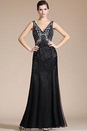 Carlyna 2014 Nuevo Vestido Negro con sexy escote en V y  brillantes de noche formal (C36140500)