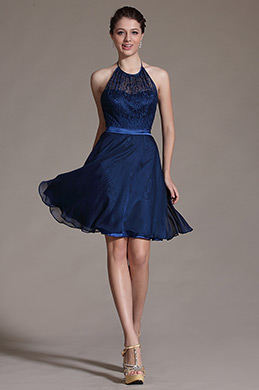 Navy Blue Halter Cocktail Dress Bridesmaid Dress (C07140405)