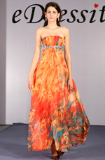 eDressit Robe imprimée/Mariée/Bal Orange/vends suberbe (00092968)