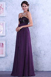 Robe de bal/robe invitée mariage empire violette sans bretelle dentelle noire (C00142306)