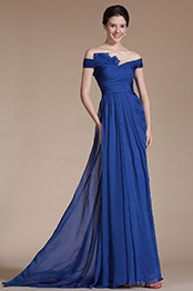 Carlyna 2014 New Blue Off Shoulder Pleated Top Evening Dress Bridesmaid Dress (C00144605)