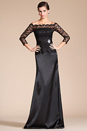 Carlyna 2014 New Black Lace Off Shoulder Mother of the Bride Dress (C26140100)