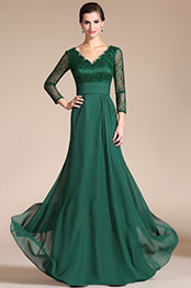 Carlyna 2014 New Green Lace Top & Sleeves Mother of the Bride Dress (C26140404)