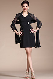 Carlyna 2014 Novedad Negro 3/4 Mangas Escote V Vestido de cóctel/Vestido para madre del novia(C35140