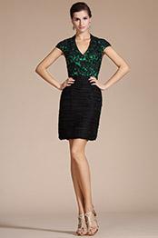 Carlyna 2014 New V-neck Black Lace Bodice Mother of the Bride Dress/Day Dress(C35140404)