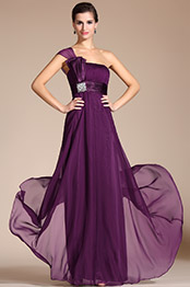 Elegant Purple One Shoulder A-line Bowknot Evening Dress Bridesmaid Dress (C36141506)