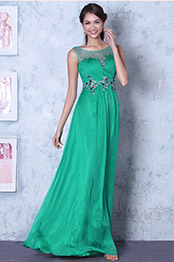 Graceful Green Sleeveless Beaded Prom Dress Evening Gown (C36143704)